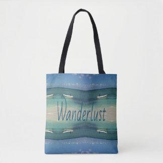 Symmetrical Artistic Beach Ocean Wanderlust Tote Bag