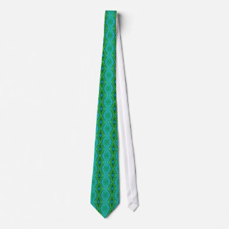 Symmetrical Blue-and-Green Pattern Necktie