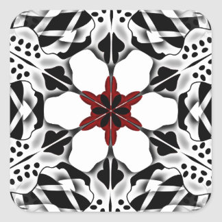 Symmetrical Flower pattern Square Sticker