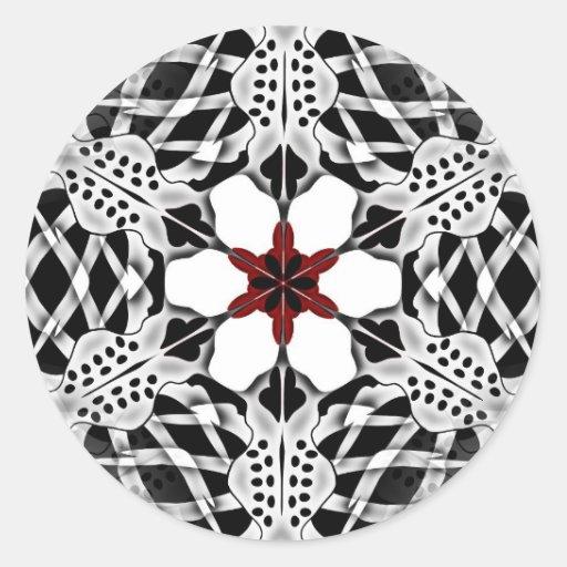 Symmetrical Flower pattern Round Sticker
