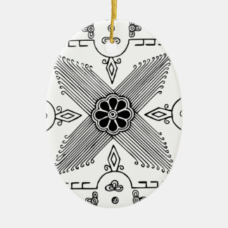 Symmetrical Indonesian Textile Flower Pattern Ceramic Ornament