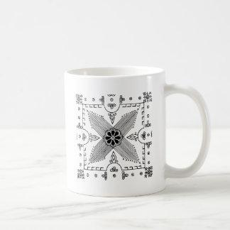 Symmetrical Indonesian Textile Flower Pattern Coffee Mug