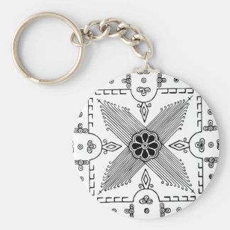 Symmetrical Indonesian Textile Flower Pattern Key Ring