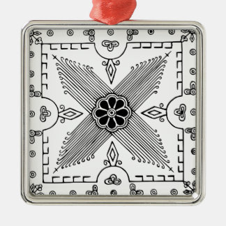 Symmetrical Indonesian Textile Flower Pattern Metal Ornament
