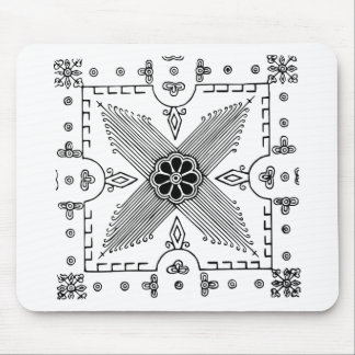 Symmetrical Indonesian Textile Flower Pattern Mouse Pad