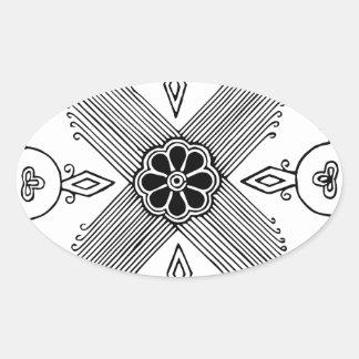 Symmetrical Indonesian Textile Flower Pattern Oval Sticker
