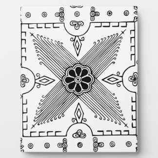 Symmetrical Indonesian Textile Flower Pattern Plaque