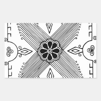 Symmetrical Indonesian Textile Flower Pattern Rectangular Sticker