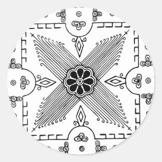 Symmetrical Indonesian Textile Flower Pattern Round Sticker