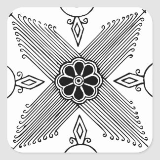 Symmetrical Indonesian Textile Flower Pattern Square Sticker