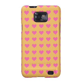 Symmetrical Pink Hearts On Beeswax. Tangerine Samsung Galaxy SII Cases
