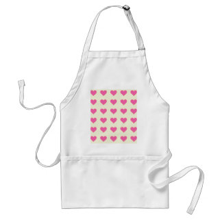 Symmetrical Pink Hearts On Beige Cream Background Aprons
