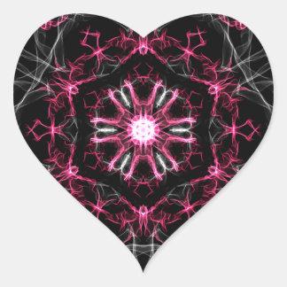 Symmetrical Ruby Kaleidoscope Heart Sticker