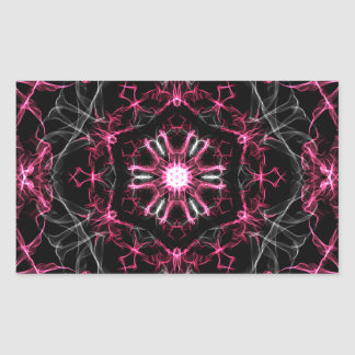 Symmetrical Ruby Kaleidoscope Rectangular Sticker