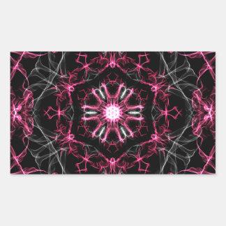 Symmetrical Ruby Kaleidoscope Rectangular Sticker