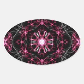 Symmetrical Ruby Kaleidoscope Oval Sticker