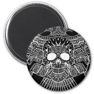 Symmetrical Skull with Guns and bullets by Al Rio 6 Cm Round Magnet