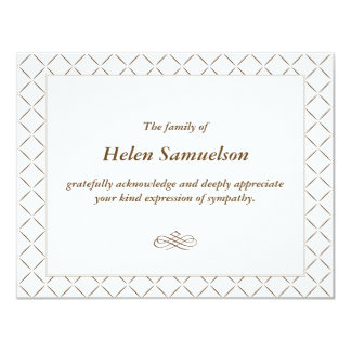Sympathy Acknowledgment Card 11 Cm X 14 Cm Invitation Card