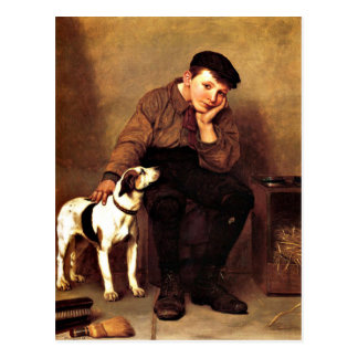 Sympathy - Boy and His Dog Postcard