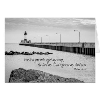 Sympathy card - bible verse on lighthouse photo