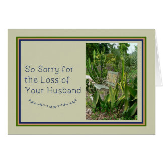 Sympathy Card for Husband with Bench and Plants