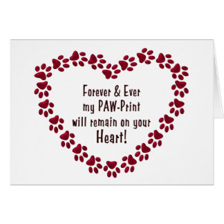SYMPATHY CARD FOR LOSS OF PET - PAW-PRINTS/HEART