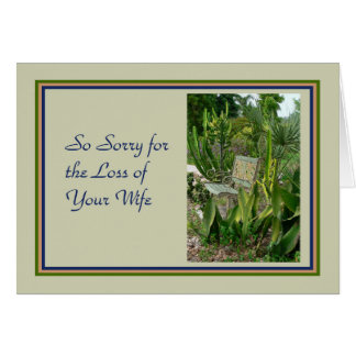 Sympathy Card for Wife, with Bench and Plants