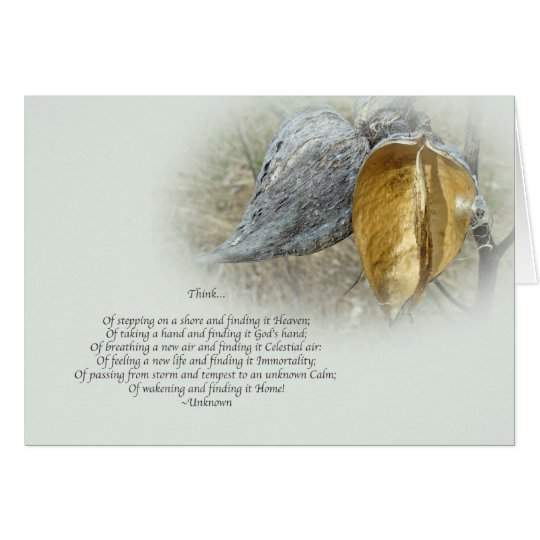 Sympathy Card - Poem and Milkweed Pods