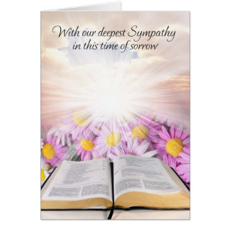 Sympathy card with flowers and study bible