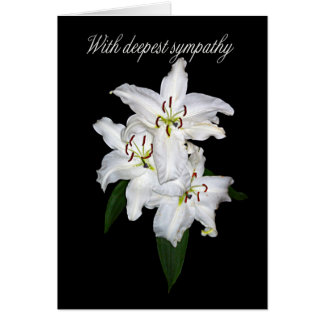 Sympathy Card With White Tiger Lilies