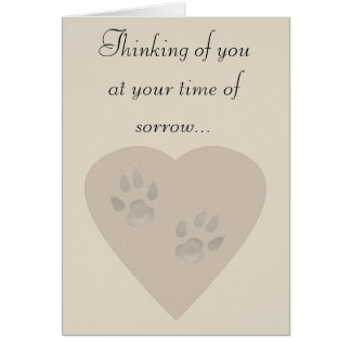 Sympathy for a Pet: Paw Prints in a Heart of Sand Greeting Card