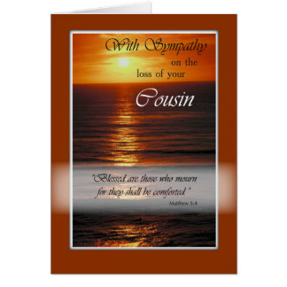 Sympathy Loss of Cousin, Sunset Over Ocean, Relig Card