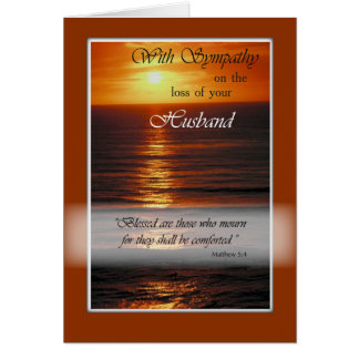 Sympathy Loss of Husband, Sunset Over Ocean Card