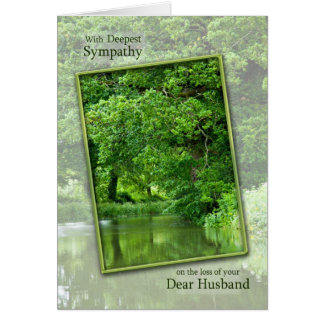 Sympathy loss of husband tranquil river scene card