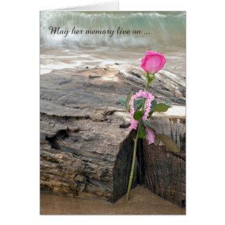 sympathy pink rose on driftwood with waves card