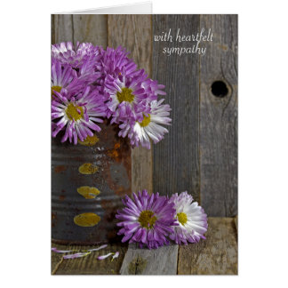 sympathy- purple mums in tin can card