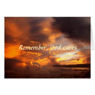 Sympathy Remember God Cares Sunset Card