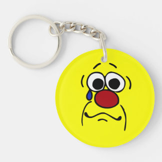 Sympathy Smiley Face Grumpey Single-Sided Round Acrylic Key Ring