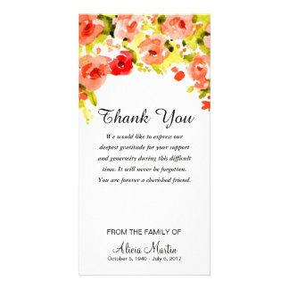 Sympathy Thank You Memorial Watercolor Floral Card
