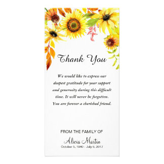Sympathy Thank You Memorial Watercolor Sunflowers Card