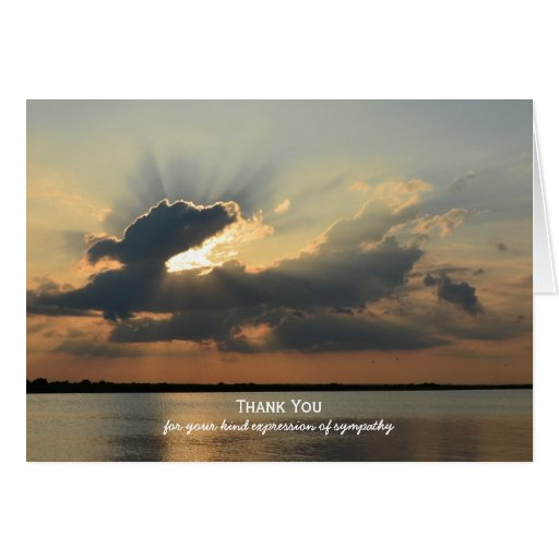 Sympathy Thank You Note Card -- Sunset over Water