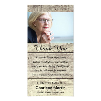 Sympathy Thank You Photo Memorial Rustic Wood Card
