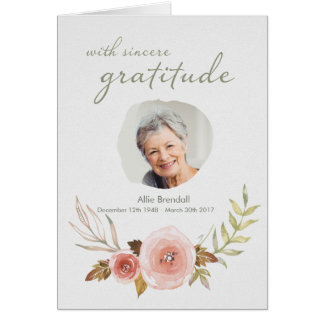 Sympathy Watercolor Thank You card with Photo