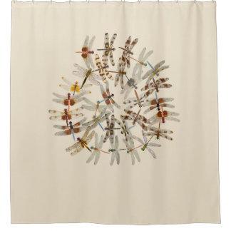 Synchronized Dragonflies Shower Curtain