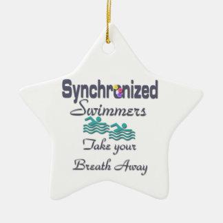 Synchronized swimmers ceramic ornament