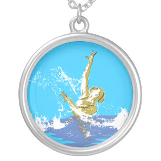 synchronized swimming silver plated necklace