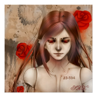 Synthetic Beauty Red version 24X24 Poster