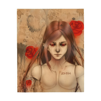 Synthetic Beauty  Rose Red version Wood Prints