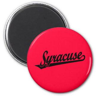 Syracuse script logo in black magnet