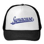 Syracuse script logo in blue mesh hats